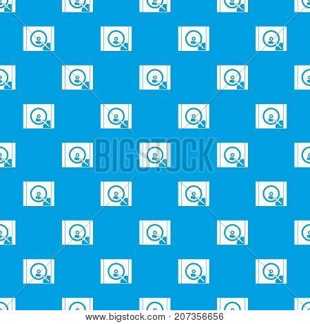 Turntable pattern repeat seamless in blue color for any design. Vector geometric illustration