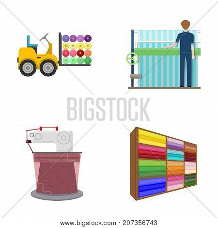 Equipment, machine, forklift and other  icon in cartoon style.Textiles, industry, tissue, icons in set collection