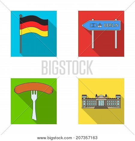 Flag, symbol, Germany, and other  icon in flat style. National, attributes, restaurant icons in set collection