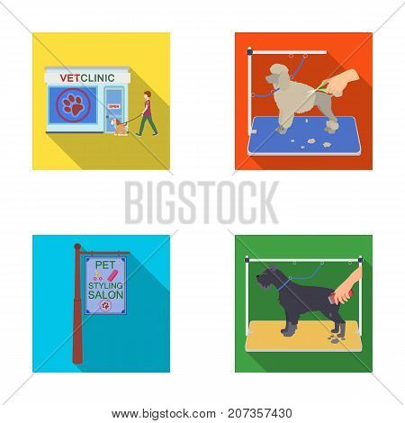Visiting a vet clinic, a signboard of a stylish salon for a pet, a haircut of dogs. Vet clinic and pet, dog care set collection icons in flat style vector symbol stock illustration .