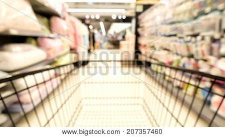 Abstract blur emtry Shopping cart in supermarket.