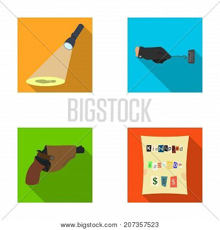 The detective's flashlight illuminates the footprint, the criminal's hand with the master key, a pistol in the holster, the kidnapper's claim. Crime and detective set collection icons in flat style vector symbol stock illustration .