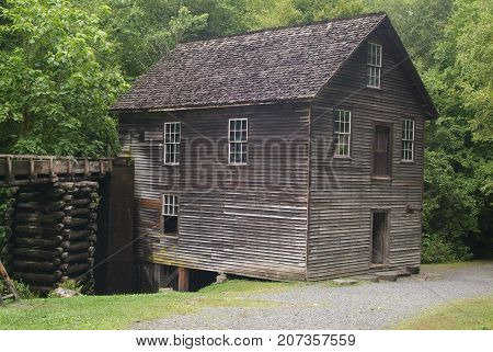 Early water powered slat wood grist mill