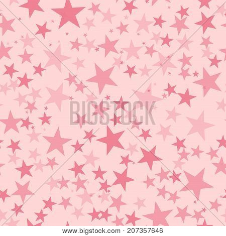 Pink Stars Seamless Pattern On Light Pink Background. Mesmeric Endless Random Scattered Pink Stars F