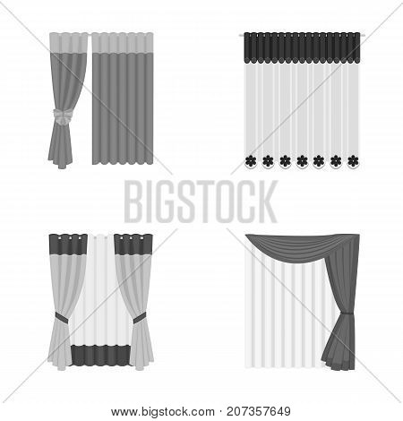 Curtains, drapes, garters, and other  icon in monochrome style. Textiles, furniture, bow icons in set collection