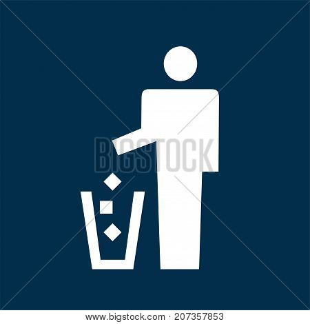 Man throwing garbage away, trash can sign, vector icon