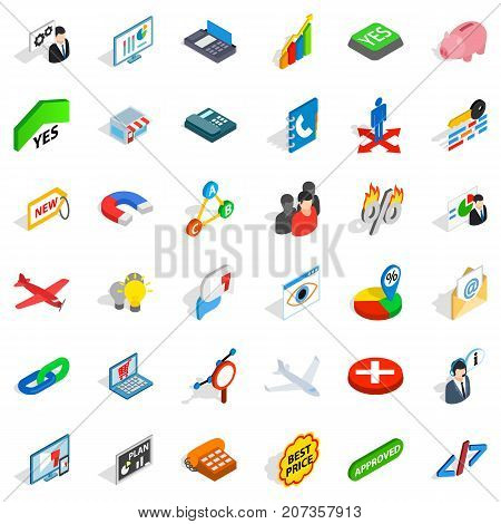 Bargain icons set. Isometric style of 36 bargain vector icons for web isolated on white background