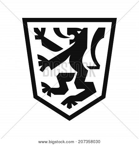 Heraldic lion on shield, coat of arms in modern flat style, symbol of strength, courage and generosity, black color icon vector illustration isolated on white background