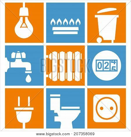 Utilities icons set, electricity, gas and water supply vector illustration