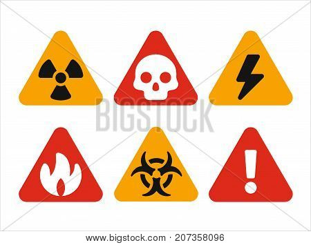 Triangular hazard warning signs, set of vector miniature icons