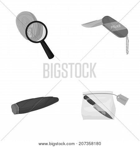A fingerprint study, a folding knife, a cigar detective, a crime weapon tool in the package. Crime and detective set collection icons in monochrome style vector symbol stock illustration .