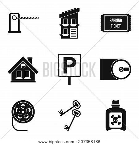 Spy movie icons set. Simple set of 9 spy movie vector icons for web isolated on white background