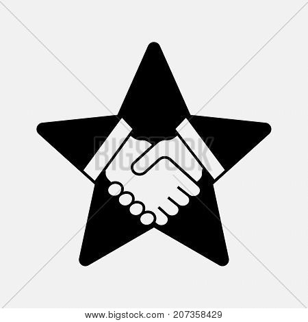 Handshake on the star, business contract agreement, vector illustration isolated on white background