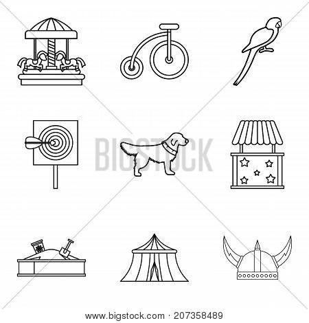 Children responsibility icons set. Outline set of 9 children responsibility vector icons for web isolated on white background