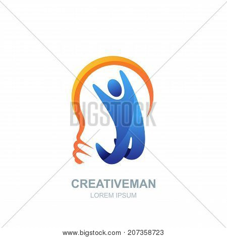 Vector Human Logo, Icon Design. Man And Light Bulb. Concept For Business, Creativity, Innovation, Co