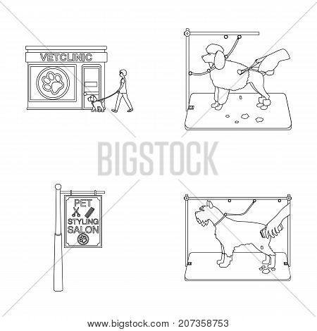 Visiting a vet clinic, a signboard of a stylish salon for a pet, a haircut of dogs. Vet clinic and pet, dog care set collection icons in outline style vector symbol stock illustration .