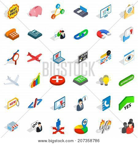 Case icons set. Isometric style of 36 case vector icons for web isolated on white background