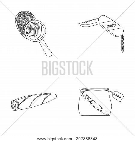 A fingerprint study, a folding knife, a cigar detective, a crime weapon tool in the package. Crime and detective set collection icons in outline style vector symbol stock illustration .