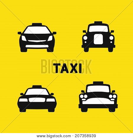 Taxi various times, old and modern taxi cab, front silhouette icons set, vector illustration