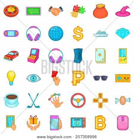 Luck icons set. Cartoon style of 36 luck vector icons for web isolated on white background