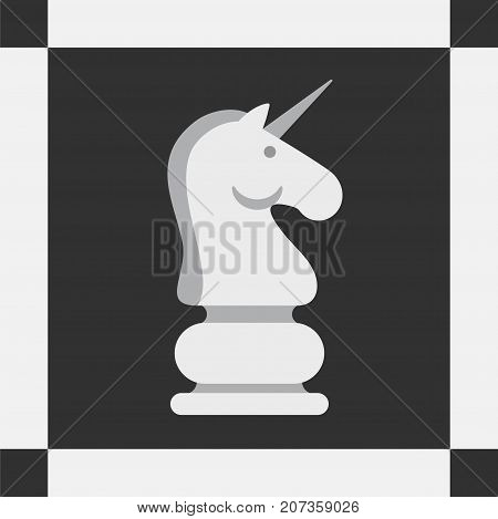 Unicorn instead horse of chess, conception of advantage, fortune, success, vector illustration