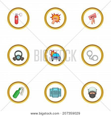 Protest icons set. Cartoon style set of 9 protest vector icons for web design