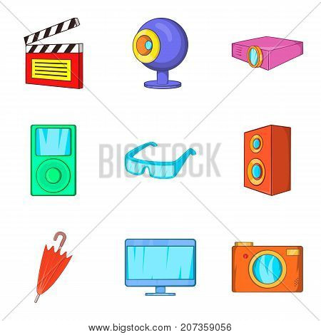 Film editing icons set. Cartoon set of 9 film editing vector icons for web isolated on white background