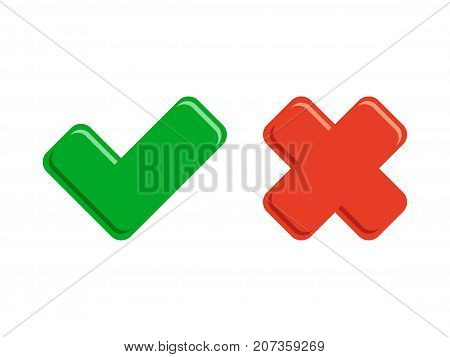 Tick icons, yes and no check button marks vector illustration