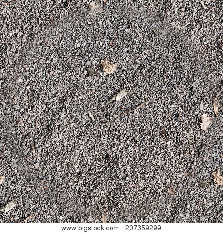 seamless gray grainy sandy ground with leaves. background texture.