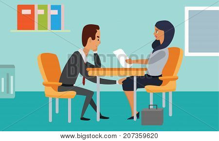 Sleazy businessman harassing a shocked female coworker. Man touching woman's knee. Sexual harassment in business office concept illustration vector.