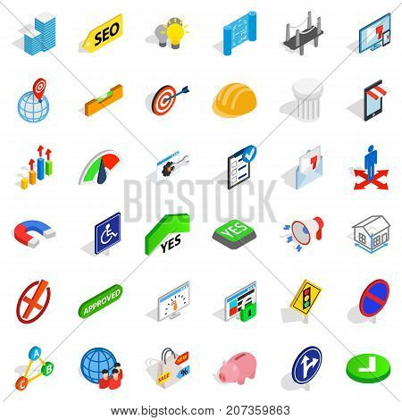 Solution icons set. Isometric style of 36 solution vector icons for web isolated on white background