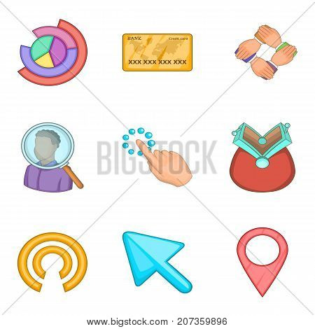 Cash investment icons set. Cartoon set of 9 cash investment vector icons for web isolated on white background