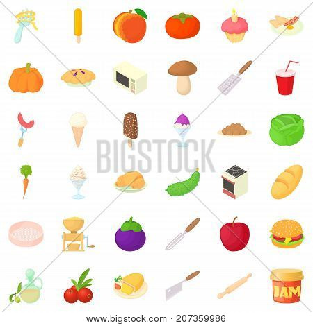 Cooking icons set. Cartoon style of 36 cooking vector icons for web isolated on white background
