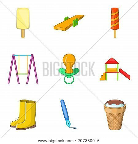 Autumn entertainment icons set. Cartoon set of 9 autumn entertainment vector icons for web isolated on white background