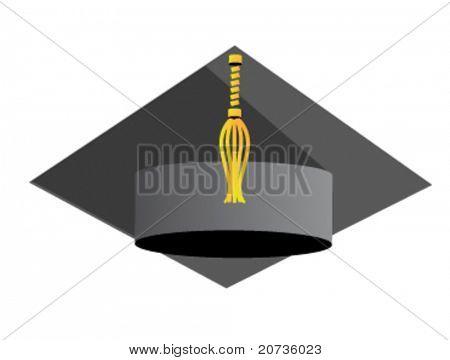 graduation hat on white. vector