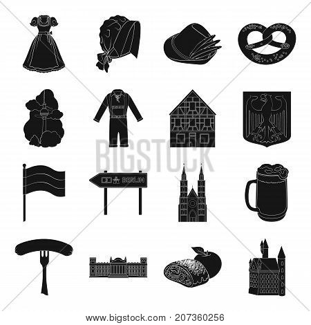 Germany, country, architecture and other  icon in black style. Attributes, tourism, Oktoberfest icons in set collection.