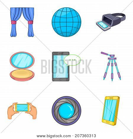 Home entertainment icons set. Cartoon set of 9 home entertainment vector icons for web isolated on white background