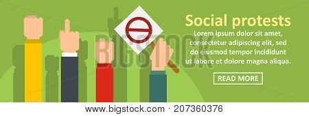 Social protests banner horizontal concept. Flat illustration of social protests banner horizontal vector concept for web design