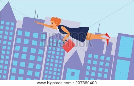 Business woman flying across the city. Success and competition concept illustration vector.