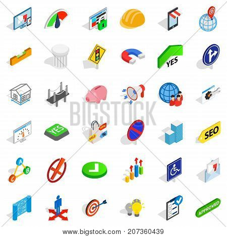 Resolution icons set. Isometric style of 36 resolution vector icons for web isolated on white background