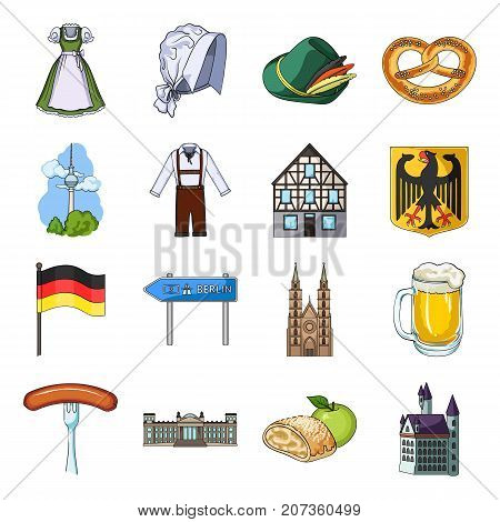 Germany, country, architecture and other  icon in cartoon style. Attributes, tourism, Oktoberfest icons in set collection.