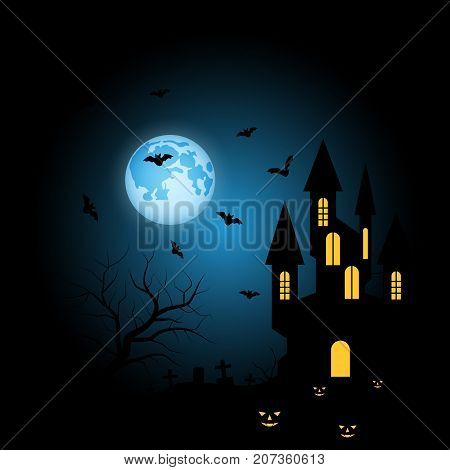 Halloween scary night vector background with gothic castle