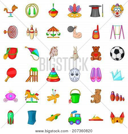 Preschool icons set. Cartoon style of 36 preschool vector icons for web isolated on white background
