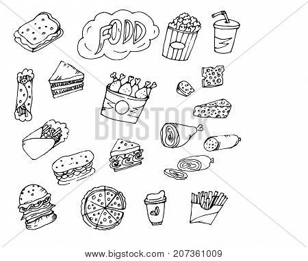 Doodle food fries, chicken, Shawarma, sandwiches, lavash rolls, meat, sausages, pieces of cheese, drink coffee
