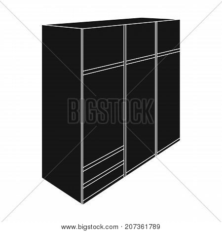 A large bedroom wardrobe with mirrow and lots of drawers and cells.Bedroom furniture single icon in black style vector symbol stock web illustration.