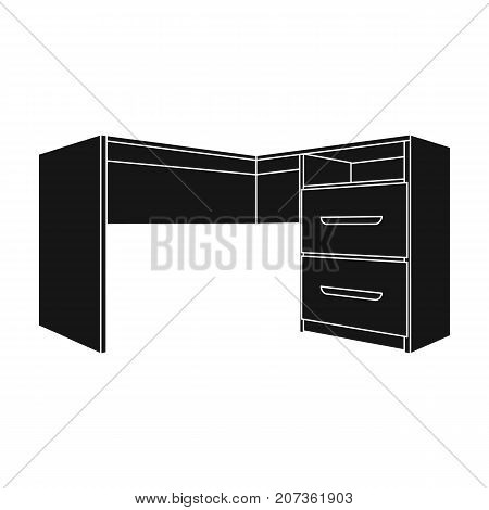 Grey desk with lockers.Desk for paperwork.Workplace and job, office, working symbol.Bedroom furniture single icon in black style vector symbol stock web illustration.