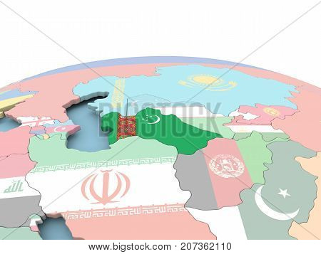 Flag Of Turkmenistan On Bright Globe