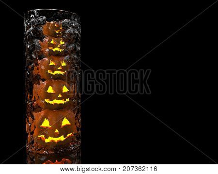 3d rendering. A stack of scary pumpkin Ghost lanterns in the cylinder glass bowl with balck copy space background.