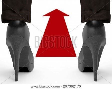 3d rendering. working woman who wearing high heels standing behind red go forward directional arrow sign. keep going for future concept.