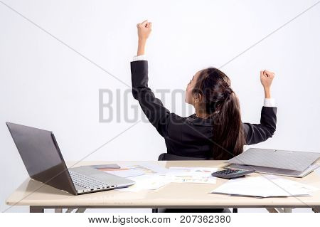 Closeup Portrait Of Cute Young Relaxed Business Woman From Behind Open Hand Up With Glad Success.